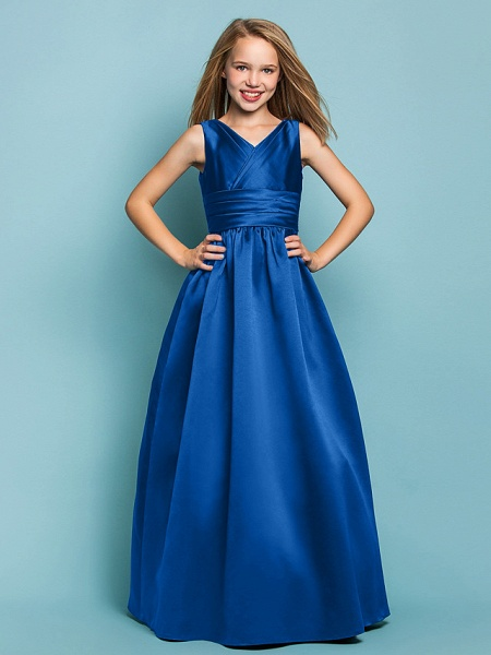 Princess / A-Line V Neck Floor Length Satin Junior Bridesmaid Dress With Sash / Ribbon / Criss Cross / Spring / Summer / Fall / Apple / Hourglass_33