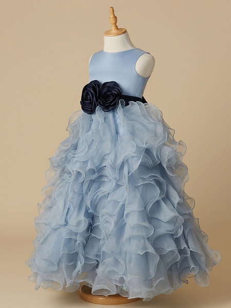 Ball Gown Floor Length Pageant Flower Girl Dresses - Organza / Satin Sleeveless Jewel Neck With Bow(S)_3