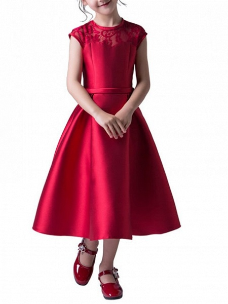 A-Line Jewel Neck Ankle Length Poly&Cotton Blend Junior Bridesmaid Dress With Lace_2