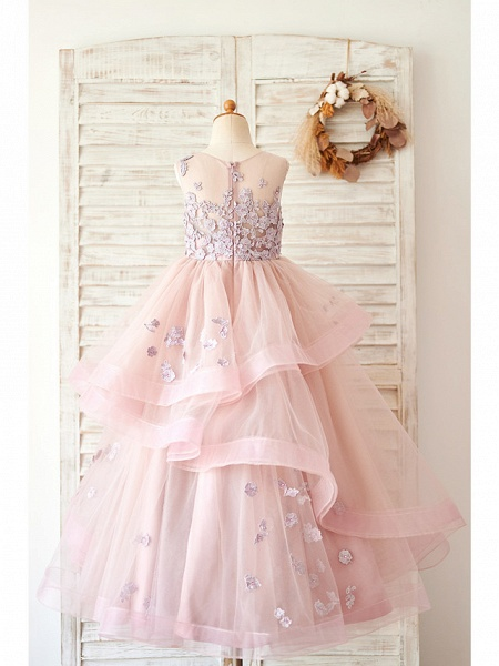 Ball Gown Floor Length Wedding / Birthday Flower Girl Dresses - Lace / Tulle Sleeveless Jewel Neck With Lace_2