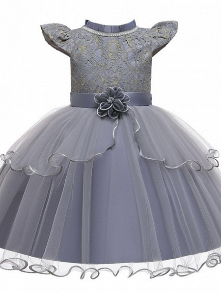 Princess / Ball Gown Knee Length Wedding / Party Flower Girl Dresses - Tulle Cap Sleeve Jewel Neck With Sash / Ribbon / Embroidery / Flower_8