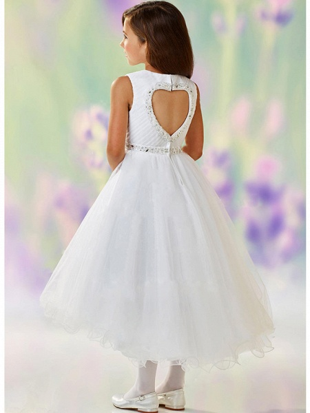 A-Line Ankle Length Wedding / Party Flower Girl Dresses - Satin / Tulle Sleeveless Jewel Neck With Tier_2
