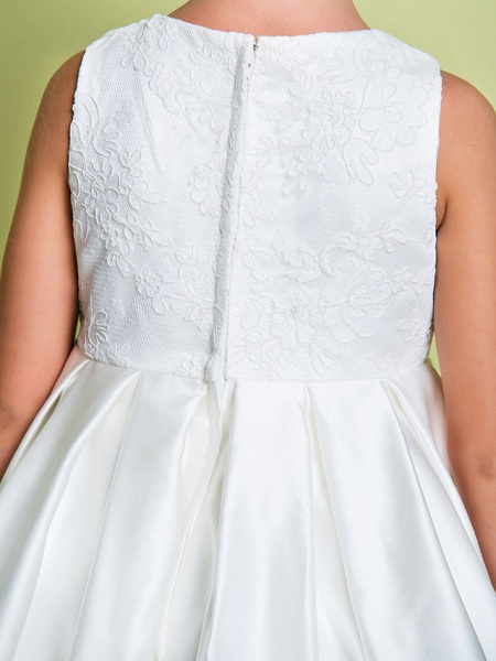 A-Line Ankle Length Wedding / First Communion Flower Girl Dresses - Lace / Satin Sleeveless Jewel Neck With Lace_9
