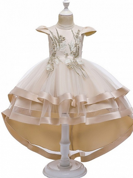 A-Line Asymmetrical Pageant Flower Girl Dresses - Tulle Sleeveless Jewel Neck With Bow(S) / Beading / Tier_3