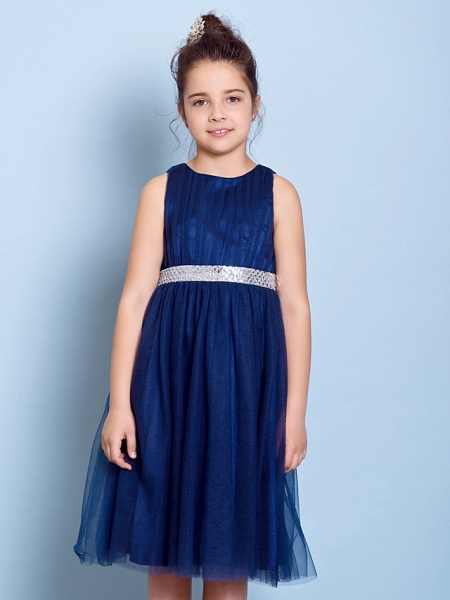 A-Line Jewel Neck Knee Length Tulle Junior Bridesmaid Dress With Sash / Ribbon / Sequin / Draping / Natural_5