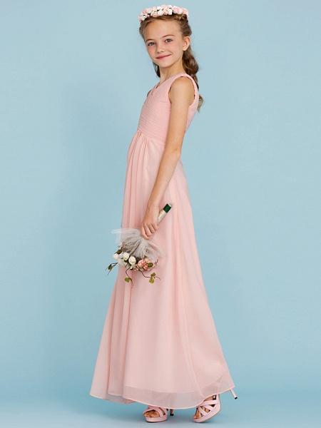 Sheath / Column V Neck Floor Length Chiffon Junior Bridesmaid Dress With Criss Cross / Pleats / Wedding Party / Open Back_3