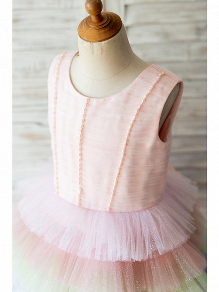 Ball Gown Knee Length Wedding / Birthday Flower Girl Dresses - Tulle Sleeveless Jewel Neck With Bow(S) / Pearls_3