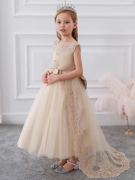 Princess / Ball Gown Sweep / Brush Train Wedding / Party Flower Girl Dresses - Satin / Tulle Sleeveless Jewel Neck With Sash / Ribbon / Bow(S) / Appliques_2