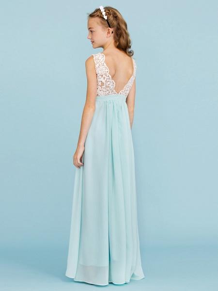 Sheath / Column V Neck Floor Length Chiffon / Lace Junior Bridesmaid Dress With Sash / Ribbon / Pleats / Color Block / Wedding Party / Open Back_2