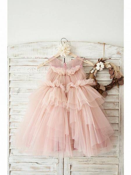 Ball Gown Knee Length Wedding / Birthday Flower Girl Dresses - Tulle Sleeveless V Neck With Belt / Pearls_2