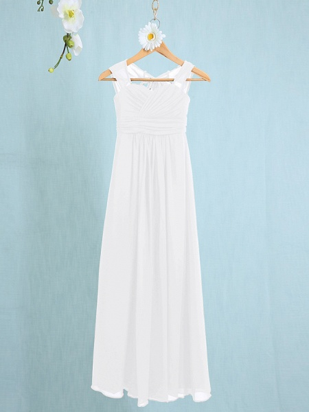 Sheath / Column Straps Ankle Length Chiffon Junior Bridesmaid Dress With Ruched / Natural_16
