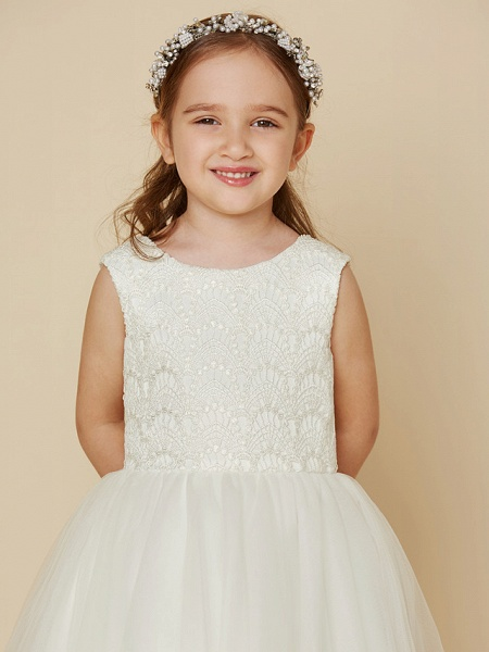 Princess Knee Length Wedding / First Communion Flower Girl Dresses - Lace / Satin / Tulle Sleeveless Jewel Neck With Lace_4