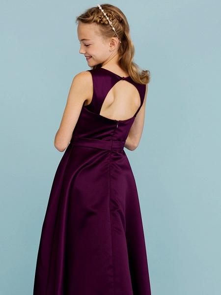 A-Line Jewel Neck Floor Length Satin Junior Bridesmaid Dress With Sash / Ribbon / Wedding Party / Open Back_6