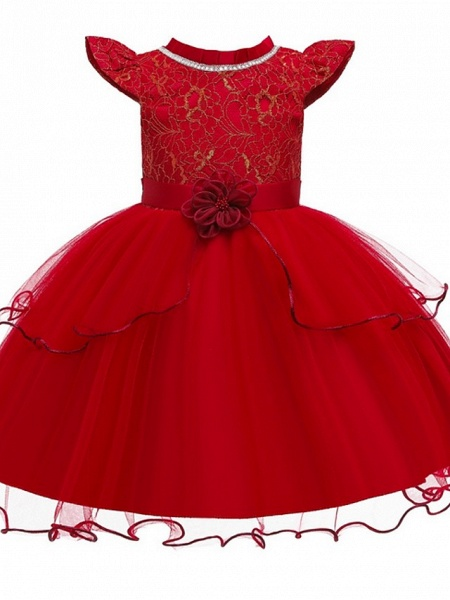 Princess / Ball Gown Knee Length Wedding / Party Flower Girl Dresses - Tulle Cap Sleeve Jewel Neck With Sash / Ribbon / Embroidery / Flower_7