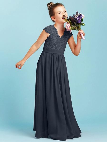 Princess / A-Line V Neck Floor Length Chiffon / Lace Junior Bridesmaid Dress With Sash / Ribbon / Pleats / Wedding Party_45