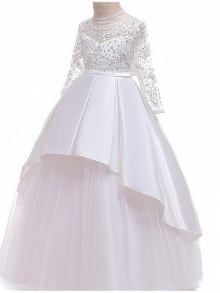 Ball Gown Floor Length Pageant Flower Girl Dresses - Polyester Long Sleeve Jewel Neck With Ruffles / Tier / Appliques_4