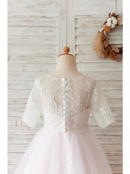 Ball Gown Knee Length Wedding / Birthday Flower Girl Dresses - Lace / Tulle Half Sleeve Jewel Neck With Buttons_4