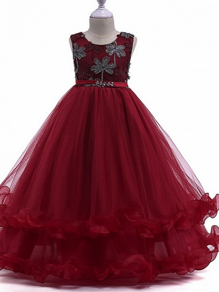 Princess Round Floor Length Cotton Junior Bridesmaid Dress With Bow(S) / Crystals / Appliques_1