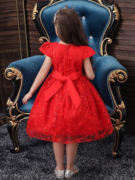 Princess / Ball Gown Knee Length Wedding / Party Flower Girl Dresses - Tulle Cap Sleeve Jewel Neck With Sash / Ribbon / Bow(S) / Embroidery_4