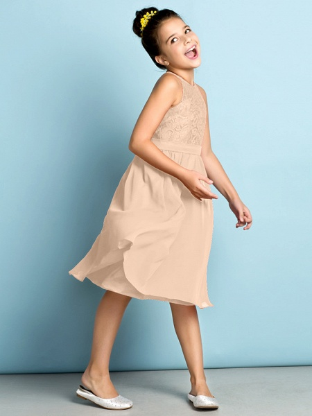 A-Line Jewel Neck Knee Length Chiffon / Lace Junior Bridesmaid Dress With Lace / Natural / Mini Me_16