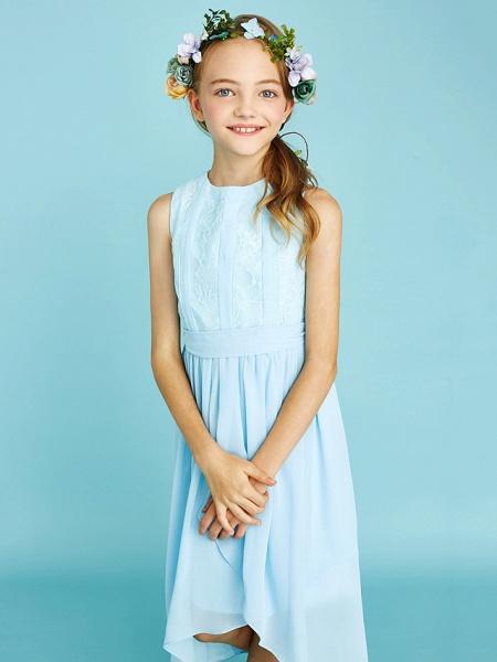 Sheath / Column Jewel Neck Asymmetrical Chiffon / Lace Junior Bridesmaid Dress With Pleats / Natural_8