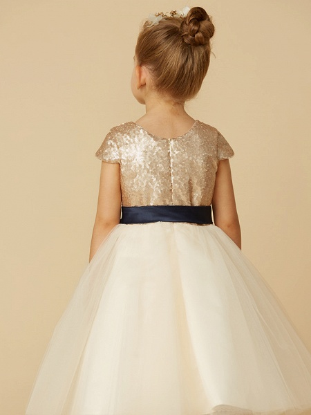 Princess Tea Length Pageant Flower Girl Dresses - Tulle / Sequined Short Sleeve Jewel Neck With Sash / Ribbon / Bow(S) / Sequin_7