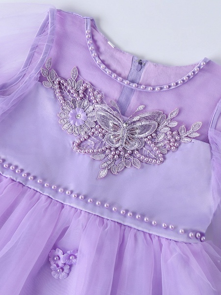 Princess Midi Wedding / Birthday Satin / Tulle Sleeveless Jewel Neck With Bow(S) / Pearls / Beading_12