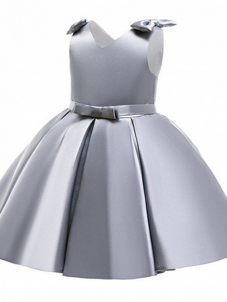 Princess / Ball Gown Knee Length Wedding / Party Flower Girl Dresses - Satin Sleeveless V Neck With Bow(S) / Pleats_2