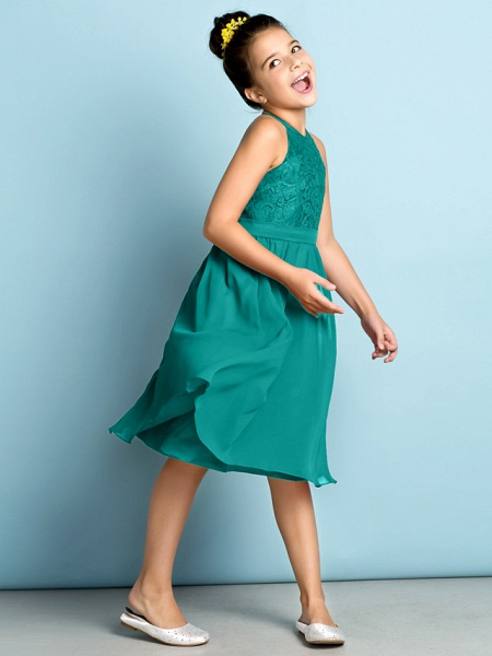 A-Line Jewel Neck Knee Length Chiffon / Lace Junior Bridesmaid Dress With Lace / Natural / Mini Me_12