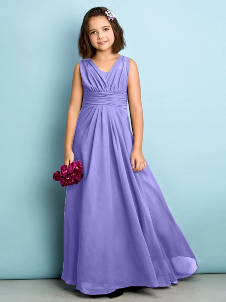 A-Line V Neck Floor Length Chiffon Junior Bridesmaid Dress With Criss Cross / Natural / Mini Me_37