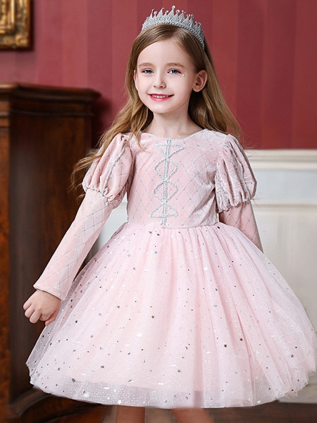 Princess / Ball Gown Knee Length Wedding / Party Flower Girl Dresses - Tulle Long Sleeve Jewel Neck With Paillette_2