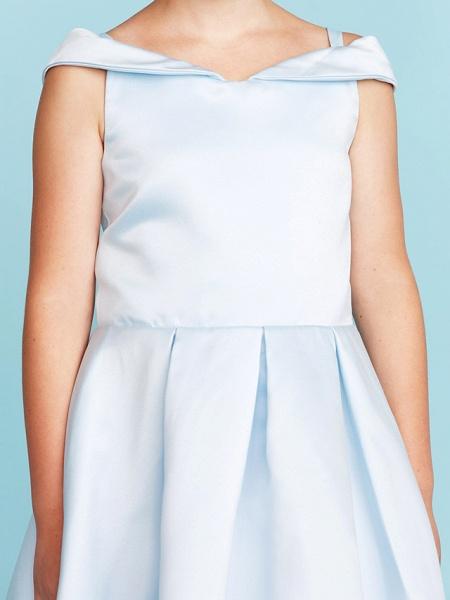 Princess / A-Line Off Shoulder Tea Length Satin Junior Bridesmaid Dress With Pleats_8