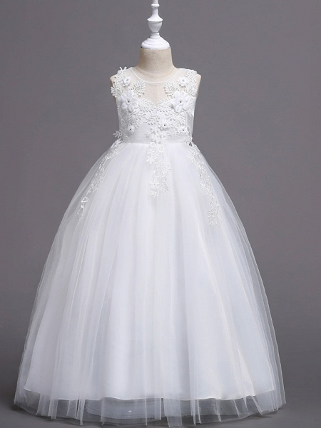 Princess Long Length Wedding / First Communion Flower Girl Dresses - Satin / Tulle Sleeveless Jewel Neck With Belt / Crystals / Appliques_1