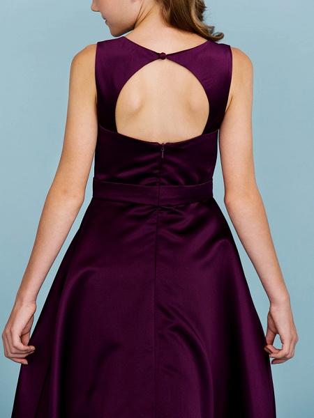 A-Line Jewel Neck Floor Length Satin Junior Bridesmaid Dress With Sash / Ribbon / Wedding Party / Open Back_8