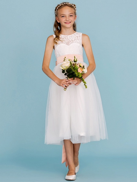 Princess / A-Line Crew Neck Tea Length Lace / Tulle Junior Bridesmaid Dress With Sash / Ribbon / Pleats / Wedding Party / Open Back / See Through_5