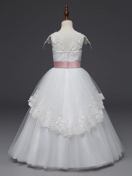 Princess Long Length Wedding / First Communion Flower Girl Dresses - Lace / Tulle Cap Sleeve Scoop Neck With Belt / Appliques_2