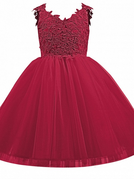 Princess Short Length Wedding / First Communion / Birthday Flower Girl Dresses - Taffeta / Tulle Sleeveless V Neck With Bow(S) / Appliques_11