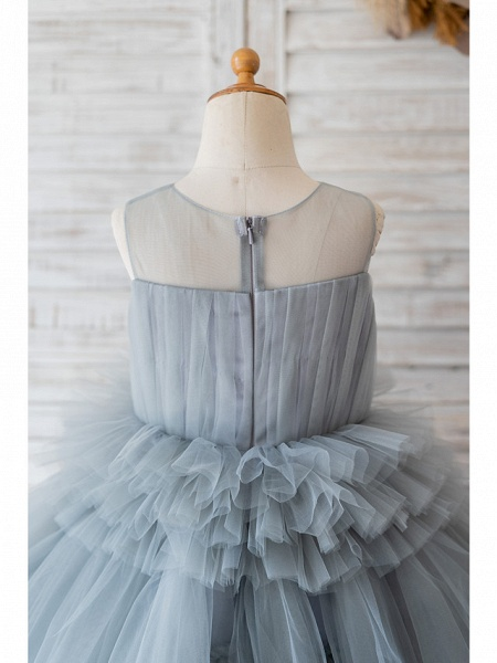 Ball Gown Knee Length Wedding / Birthday Flower Girl Dresses - Tulle Sleeveless Jewel Neck With Tier_4