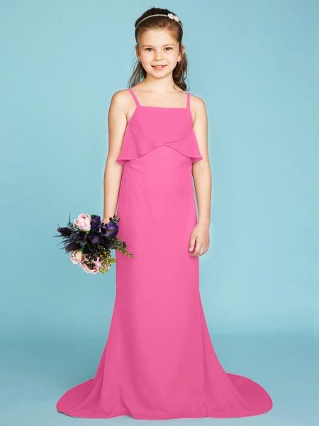 Sheath / Column Spaghetti Strap Sweep / Brush Train Chiffon Junior Bridesmaid Dress With Tiered / Wedding Party / Open Back_24