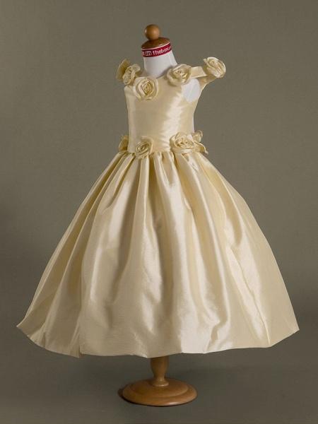 Ball Gown Off-The-Shoulder Floor-Length Taffeta Flower Girl Dress_2