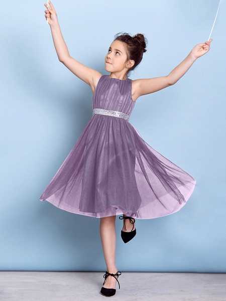 A-Line Jewel Neck Knee Length Tulle Junior Bridesmaid Dress With Sash / Ribbon / Sequin / Draping / Natural_24