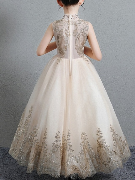 A-Line Floor Length Pageant Flower Girl Dresses - Polyester Sleeveless High Neck With Paillette_3