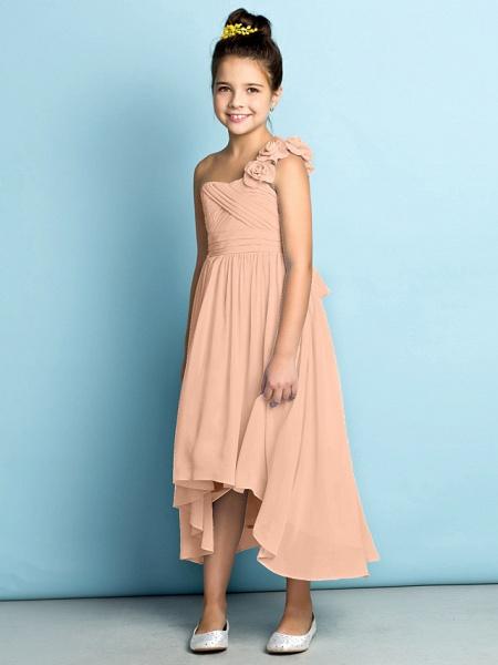 A-Line One Shoulder Asymmetrical Chiffon Junior Bridesmaid Dress With Criss Cross / Flower / Natural / Mini Me_15