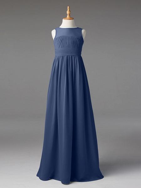 Princess / A-Line Jewel Neck Floor Length Chiffon Junior Bridesmaid Dress With Sash / Ribbon / Pleats_6