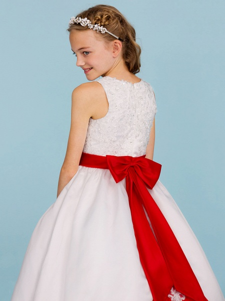 Ball Gown Crew Neck Ankle Length Lace / Satin Junior Bridesmaid Dress With Sash / Ribbon / Bow(S) / Beading / Color Block / Wedding Party_7