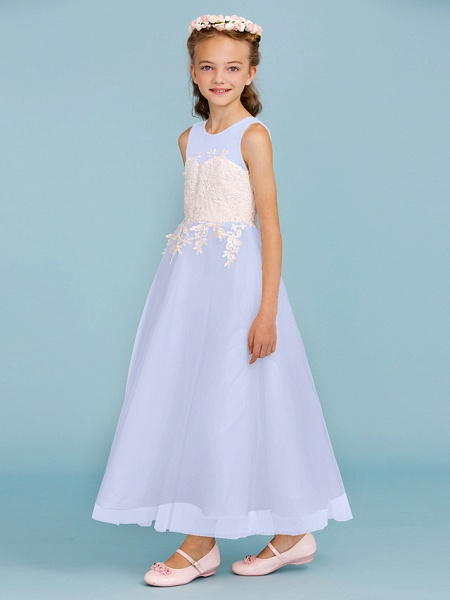 Princess / A-Line Jewel Neck Ankle Length Lace / Tulle Junior Bridesmaid Dress With Sash / Ribbon / Appliques / Wedding Party / Open Back_48