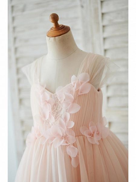 Ball Gown Knee Length Wedding / Birthday Flower Girl Dresses - Tulle Cap Sleeve Sweetheart Neckline With Petal / Pearls_3