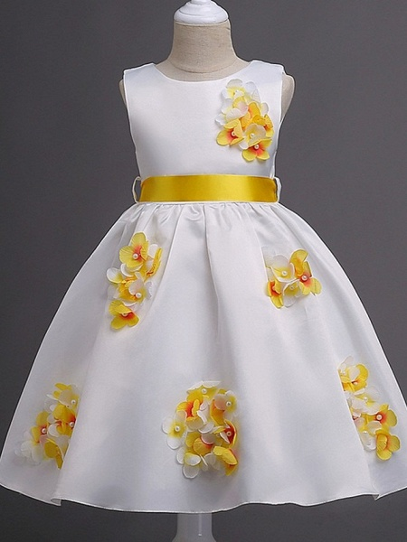 Princess / Ball Gown Knee Length Wedding / Party Flower Girl Dresses - Satin Sleeveless Jewel Neck With Sash / Ribbon / Bow(S) / Flower_2