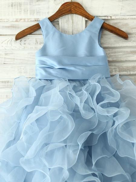 Princess / Sheath / Column Floor Length Pageant Flower Girl Dresses - Organza Sleeveless Jewel Neck With Sash / Ribbon / Flower_2