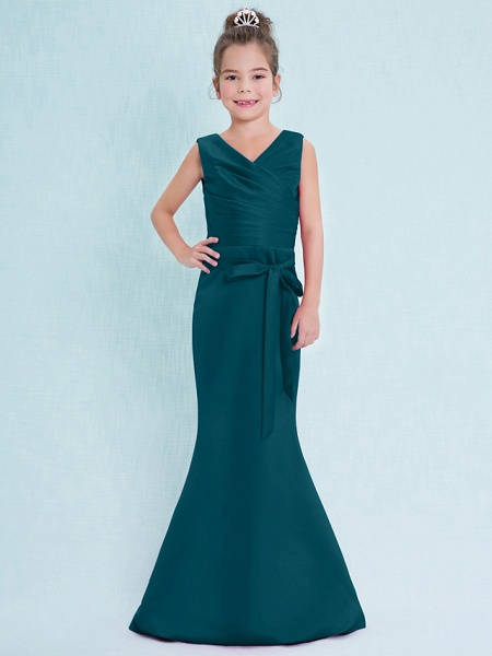 Mermaid / Trumpet V Neck Floor Length Satin Junior Bridesmaid Dress With Criss Cross / Natural_36
